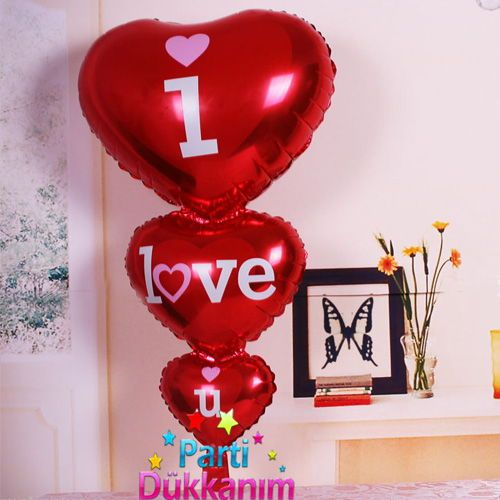 I Love you 3\'lu Kalp Folyo Balon (50x100 cm)