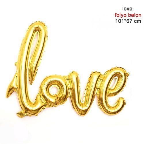 Love Folyo Balon Gold 101 cm, fiyatı