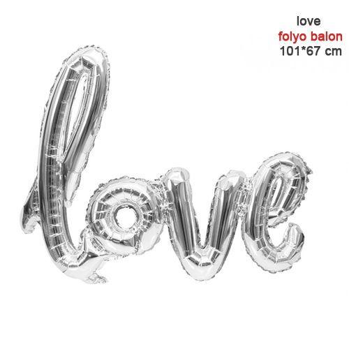 Love Folyo Balon Gümüş 101 cm