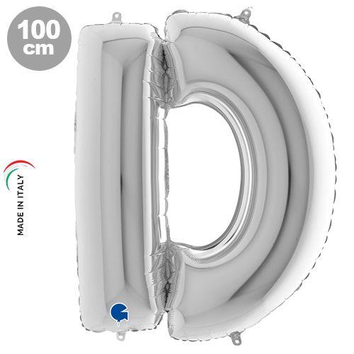 D - Harf Folyo Balon Gümüş (100 cm)
