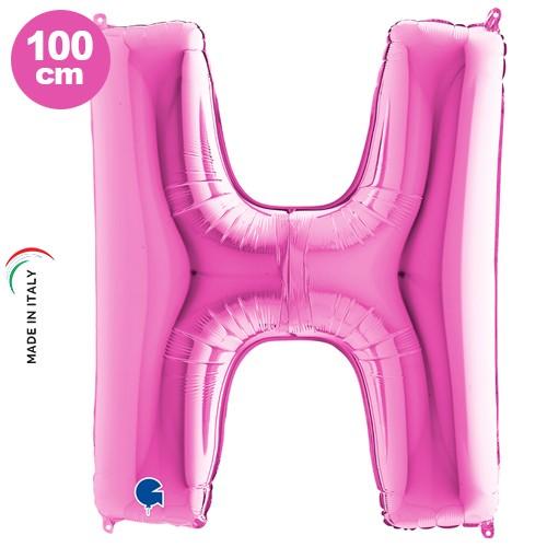 H - Harf Folyo Balon Pembe (100 cm)