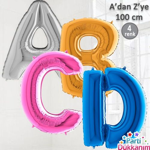 A-dan Z-ye Harf/Rakam Folyo Balon Büyük Boy (100 cm)