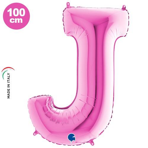 J - Harf Folyo Balon Pembe (100 cm)