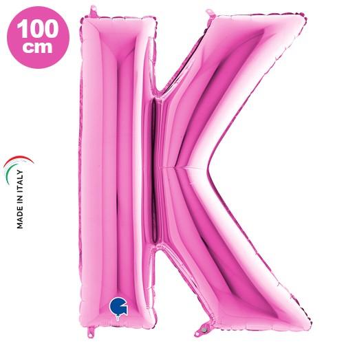 K - Harf Folyo Balon Pembe (100 cm)
