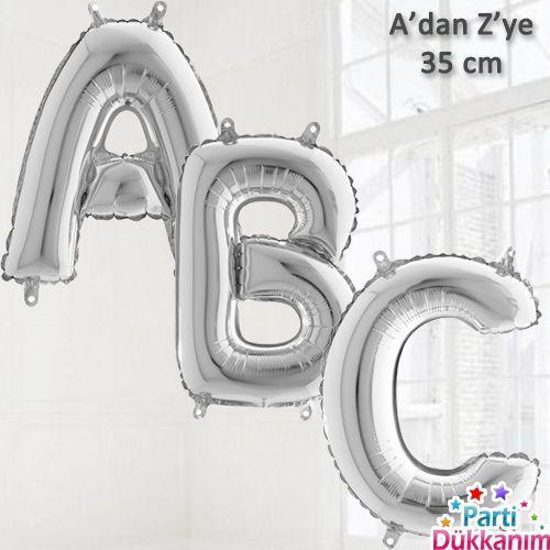 A-dan Z-ye Harf Folyo Balon Gümüş (35 cm)