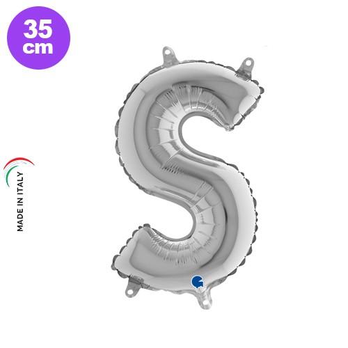 S - Harf Folyo Balon Gümüş (35 cm)