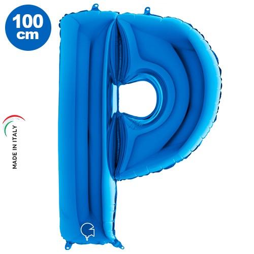 |P| Harf Folyo Balon Mavi (100 cm)