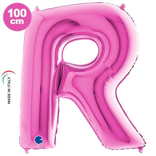 R - Harf Folyo Balon Pembe (100 cm)