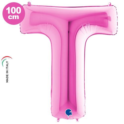 T - Harf Folyo Balon Pembe (100 cm)