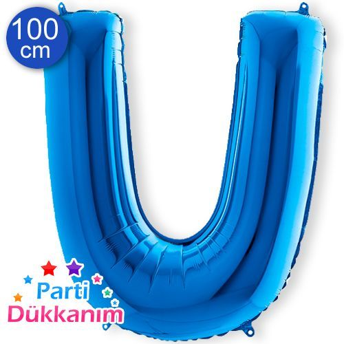 U - Harf Folyo Balon Mavi (100 cm)