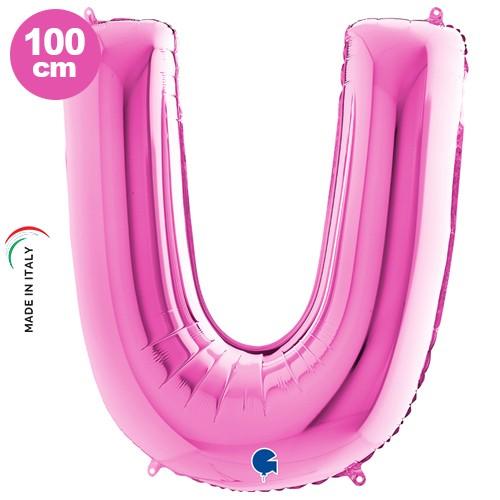 U - Harf Folyo Balon Pembe (100 cm)