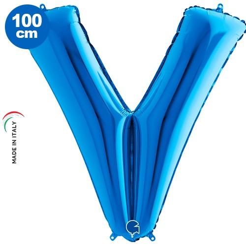 V - Harf Folyo Balon Mavi (100 cm), fiyatı