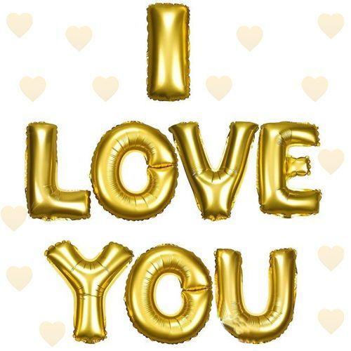 I LOVE YOU Folyo Balon Gold (35 cm)