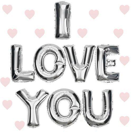 I LOVE YOU Folyo Balon Gümüş (35 cm)