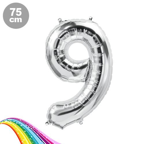 9 Sayı Folyo Balon Gümüş (75 cm)