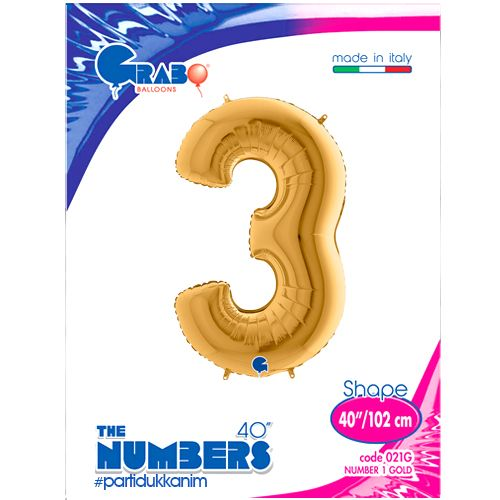 3 Rakam Folyo Balon Gold (100x70 cm), fiyatı