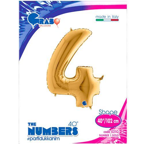 4 Rakam Folyo Balon Gold (100x70 cm), fiyatı