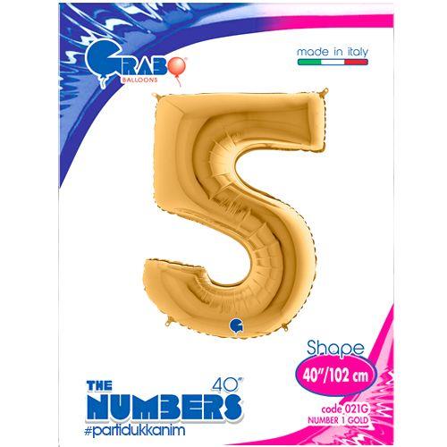 5 Rakam Folyo Balon Gold (100x70 cm), fiyatı