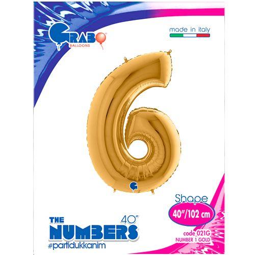 6 Rakam Folyo Balon Gold (100x70 cm), fiyatı