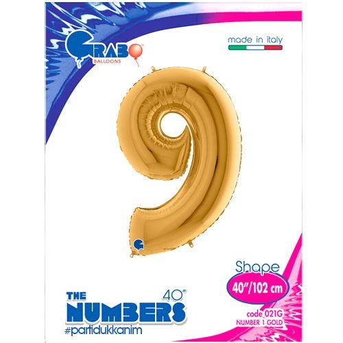 9 Rakam Folyo Balon Gold (100x70 cm), fiyatı