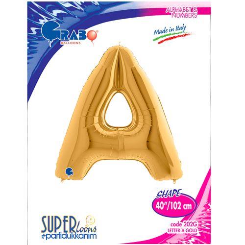 A - Harf Folyo Balon Gold (100 cm), fiyatı