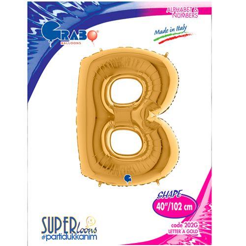 B - Harf Folyo Balon Gold (100 cm), fiyatı