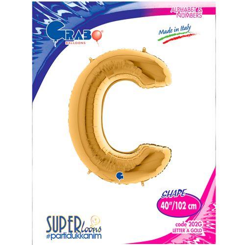 C - Harf Folyo Balon Gold (100 cm), fiyatı
