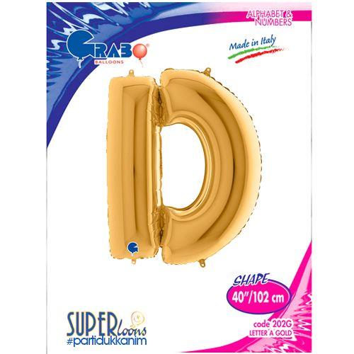 D - Harf Folyo Balon Gold (100 cm), fiyatı