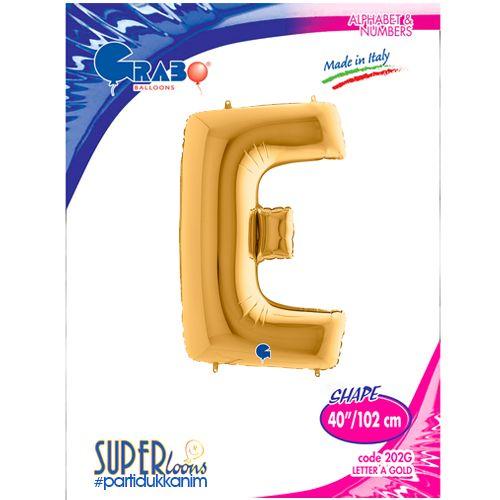 E - Harf Folyo Balon Gold (100 cm), fiyatı