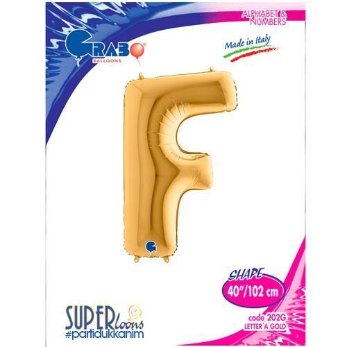 F - Harf Folyo Balon Gold (100 cm), fiyatı