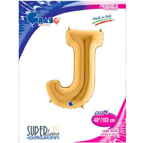 J - Harf Folyo Balon Gold (100 cm), fiyatı