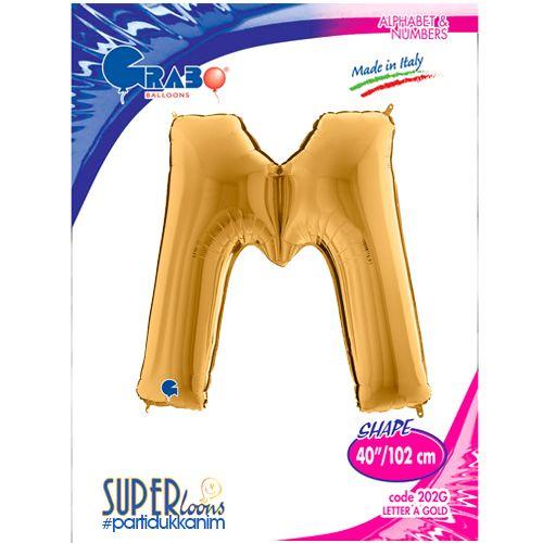 M - Harf Folyo Balon Gold (100 cm), fiyatı
