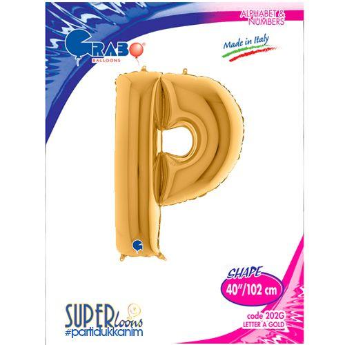 P - Harf Folyo Balon Gold (100 cm), fiyatı