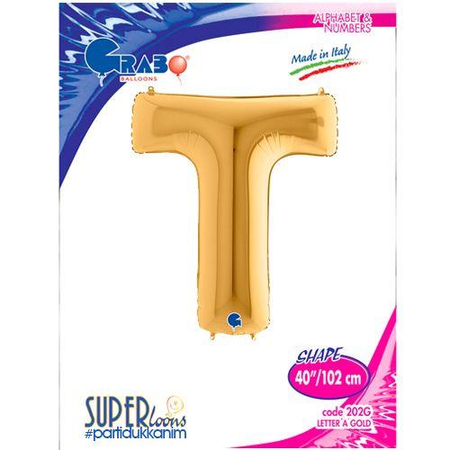 T - Harf Folyo Balon Gold (100 cm), fiyatı