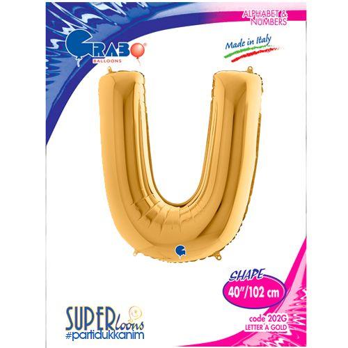 U - Harf Folyo Balon Gold (100 cm), fiyatı