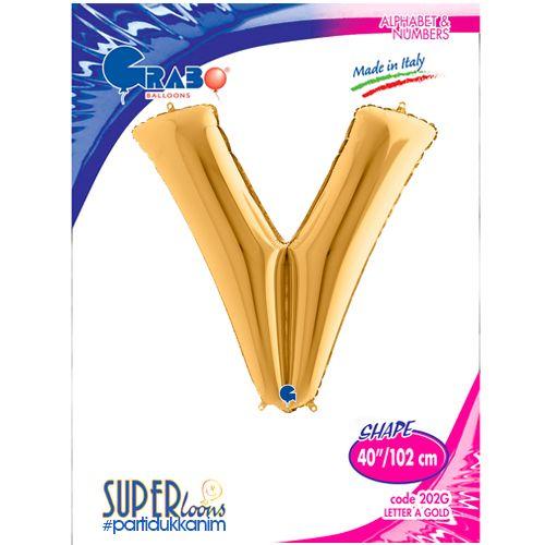 V - Harf Folyo Balon Gold (100 cm), fiyatı