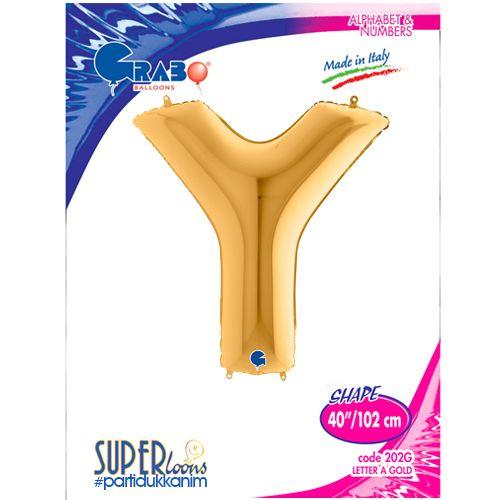 Y - Harf Folyo Balon Gold (100 cm), fiyatı
