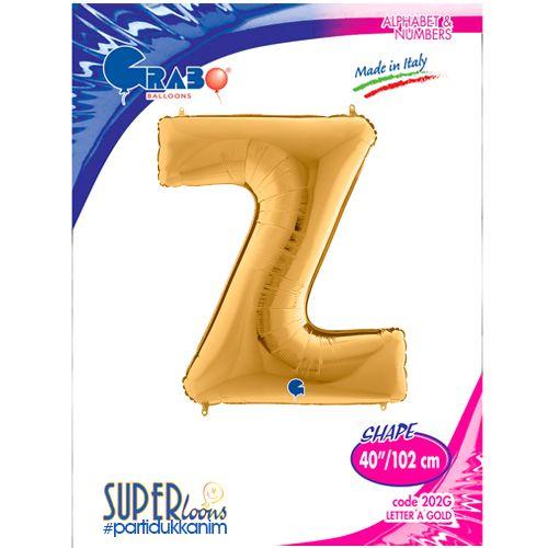 Z - Harf Folyo Balon Gold (100 cm), fiyatı