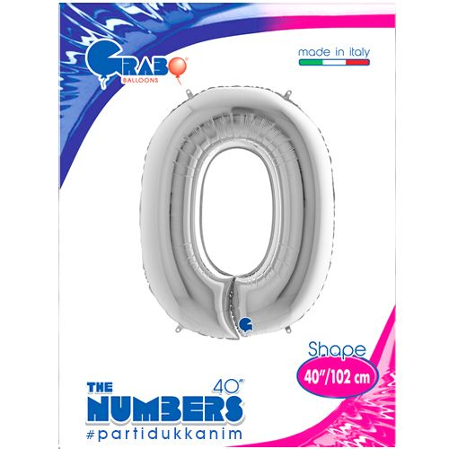 0 Rakam Folyo Balon Gümüş (100 cm), fiyatı