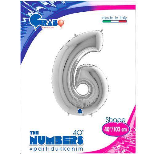 6 Rakam Gümüş Folyo Balon (100 cm), fiyatı