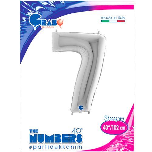 7 Rakam Gümüş Folyo Balon (100 cm), fiyatı