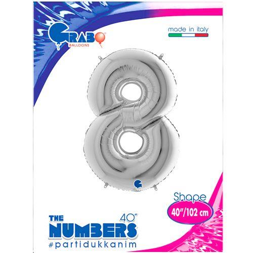 8 Rakam Gümüş Folyo Balon (100x70 cm), fiyatı