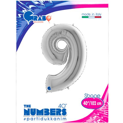 9 Rakam Gümüş Folyo Balon (100 cm), fiyatı