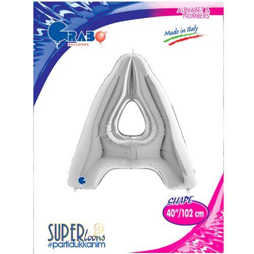 A - Harf Folyo Balon Gümüş (100 cm), fiyatı