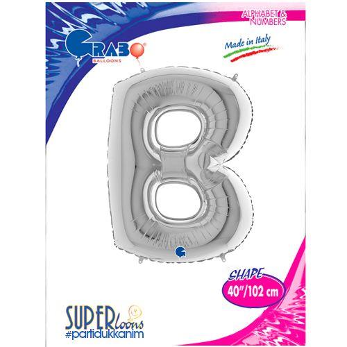 B - Harf Folyo Balon Gümüş (100 cm), fiyatı
