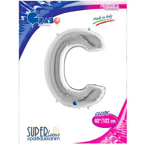 C - Harf Folyo Balon Gümüş (100 cm), fiyatı