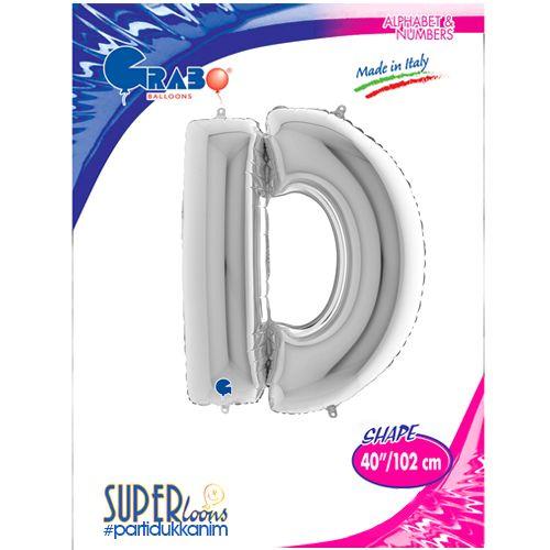 D - Harf Folyo Balon Gümüş (100 cm), fiyatı
