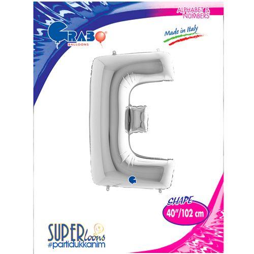 E - Harf Folyo Balon Gümüş (100 cm), fiyatı