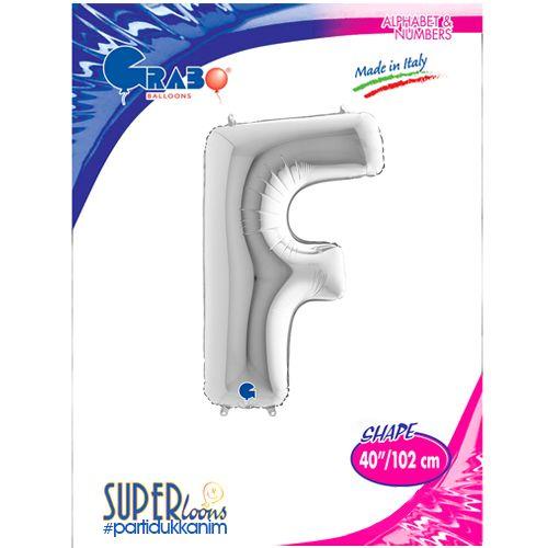 F - Harf Folyo Balon Gümüş (100 cm), fiyatı