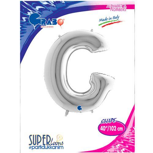 G - Harf Folyo Balon Gümüş (100 cm), fiyatı